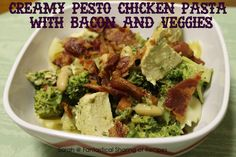 Creamy Pesto Chicken Pasta with Bacon and Veggies