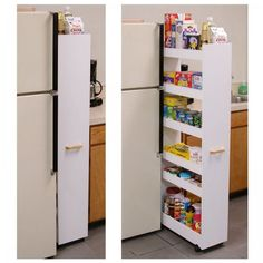 """Rolling Pantry (White) (58""""h x 10""""w x 23 1/2""""d). This rolling pantry organizer turns unused areas of the kitchen or pantry into maximum storage space. Because it is on casters this pantry glides effortlessly into small seemingly useless spaces alongside the refrigerator or already loaded cupboards. When recessed you'll hardly know it's there. It is however, extremely sturdy and will stand alone anywhere you put it.  Six roomy shelves will accommodate heavy cans, large cereal boxes, spices..."""