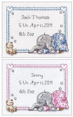 Sleepy Baby Birth Sampler Cross Stitch Kit | sewandso