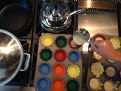 This is us making our confetti cupcakes!