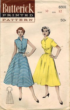 Vintage Butterick 6501 Sewing Pattern, Misses' One-Piece Dress, Deeply Yoked Bodice, Size 30 Bust, Summer Rockabilly Dress 1950s Dress Patterns, Vintage Sewing Patterns, Clothing Patterns, 1950s Fashion, Vintage Fashion, Classic Fashion, Vintage Style, Women's Fashion, Vintage Dresses
