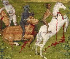 devils slaughtering the herd  Robert de Boron, l'Istoire de Merlin, Bourges ca. 1480-1485  BnF, Français 91, fol. 1r
