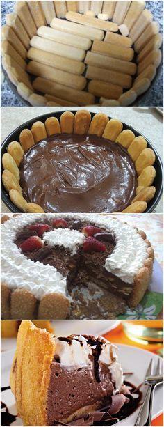 APRENDA A FAZER Charlotte de Chocolate..PASSO A PASSO!! VEJA AQUI>>>Leve ao fogo os 6 primeiros ingredientes e mexa até obter um creme espesso, Tire do fogo e acrescente a gelatina, dissolvida em 3 colheres (sopa) de água, e as frutas cristalizadas embebidas no rum. #receita#bolo#torta#doce#sobremesa#aniversario#pudim#mousse#pave#Cheesecake#chocolate#confeitaria