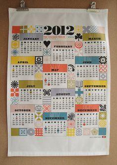 2012 Tea Towel Calendar - Retro Typography Ornaments