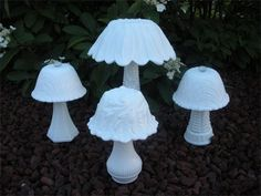 Milk Glass Mushrooms : Shrooms - Shrooms Everywhere!  These milk glass mushrooms will add a great touch to the edge of your garden border