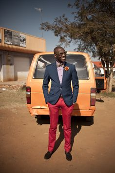 South African style - red pants, navy blazer with bow tie Men's Fashion, Fashion Killa, Street Fashion, Blazer Fashion, Sharp Dressed Man, Well Dressed, African Men, African Fashion, African Street Style