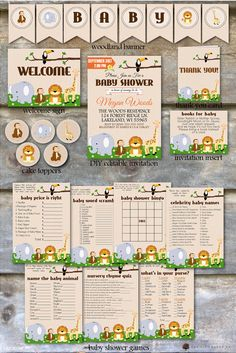 Safari Baby Shower Party Package Jungle by OakCityPaperCompany