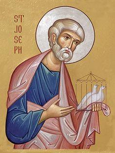 An icon of St Joseph. Catholic Art, Catholic Saints, Patron Saints, Byzantine Icons, Byzantine Art, Religious Images, Religious Art, Paint Icon, Christ