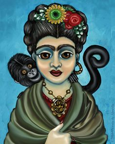 Frida's Monkey Painting by Victoria De Almeida - Frida's Monkey Fine Art Prints and Posters for Sale Frida Paintings, Folk, Frida Art, Monkey Art, Mexico Culture, Diego Rivera, Sale Poster, Sculpture, Mixed Media Art