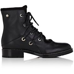 Proenza Schouler Women's Grommet-Embellished Leather Combat Boots ($479) ❤ liked on Polyvore featuring shoes, boots, ankle booties, ankle boots, black, black ankle boots, black ankle booties, leather booties, black leather bootie and black low heel booties