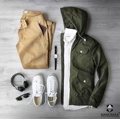 Rain rain go away. Shirt: Japanese Oxford Jacket: Rochester in Olive Chinos: Marco Khaki Wallet: Sunglasses: Watch: w/ Cordovan Strap Headphones: Shoes: Jack Purcell : - mens casual dress shoes, mens discount shoes, mens suede shoes Fashion Mode, Look Fashion, Mens Fashion, Gentleman Fashion, Mode Outfits, Casual Outfits, Fashion Outfits, Mode Masculine, Stylish Men