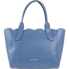 Roberta Gandolfi Handbag ($170) ❤ liked on Polyvore featuring bags, handbags, pastel blue, hand bags, blue purse, leather tote shopper, handbags & purses and studded handbags