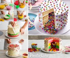 A Pinata Cake is perfect for Parties and they are so easy to make when you know . - A Pinata Cake is perfect for Parties and they are so easy to make when you know how. You are going - Cupcakes, Cupcake Cakes, Piniata Cake, Candy Filled Cake, Inside Cake, Surprise Cake, Girly Cakes, Birthday Cake Girls, Partys