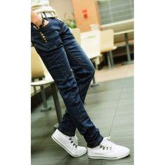 Mens Skinny Jeans Fashion Slim Fit Blue Denim Jeans