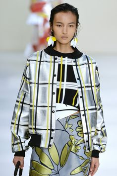 "wgsn:  "" #Marni takes on metallics in this dropped sleeve tartan style bomber , and wins. #SS15 #MFW  """