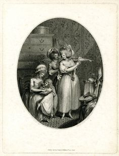 Inside a room, a woman helping another dress in front of a dresser, who looks back the third woman on the left sitting on a chair and reading to a boy; in an oval; after Ansell; scratched-letter state.  1789  Stipple with etching