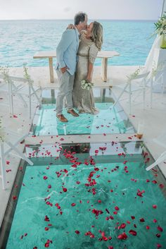 Gorgeous Maldives Wedding Vow Renewal at Over Water Pavilion Beautiful Wedding Venues, Wedding Reception Venues, Reception Ideas, Dream Wedding, Luxury Wedding, Maldives Wedding, Wedding Officiant Script, 8th Wedding Anniversary Gift, Wedding Verses