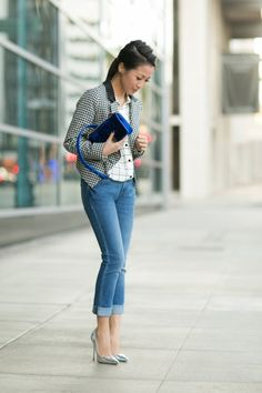 Skinny Jeans :: Silver Heels - Inspiration for this look: J. Crew Tipped Boy blouse and pink or black blazer.