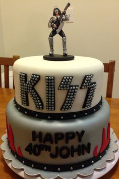 Kiss Band birthday cake with Gene Simmons topper.