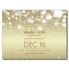 Elegant Glowing Stars Gold Save The Date