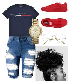 A fashion look from June 2017 featuring Puma sneakers and Michael Kors watches. Browse and shop related looks. Cute Swag Outfits, Chill Outfits, Dope Outfits, Spring Outfits, Trendy Outfits, Tomboy Outfits, Outfit Pinterest, Looks Adidas, Puma Outfit