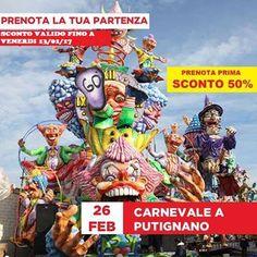 JLAND TRAVEL: CARNEVALE DI PUTIGNANO 26 FEBBRAIO IN BUS DA SALER...