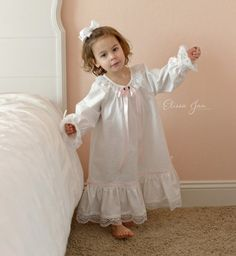 Fairytale Nightgown, Nutcracker costume, cotton girls gown, childs sleepwear, custom made by by Elissa Jan Photography Kids Nightwear, Girls Sleepwear, Gowns For Girls, Little Girl Dresses, Baby Girl Fashion, Kids Fashion, Nightgown Pattern, Fairytale Gown, Cotton Gowns