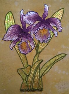 Mylar Orchid  Kenny Kreations  Gorgeous machine quilting designs Embroidery Applique, Embroidery Patterns, Machine Embroidery, Machine Quilting Designs, Quilting Ideas, Creative Outlet, Orchids, Textiles, Quilt Design