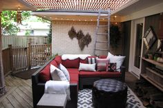 This cozy outdoor space is layered with patterns, textures, and materials to create a space that looks as though it's evolved for years. Style Challenge blogger Sam of style/SWOON designed this charming oasis in a matter of weeks! #heartoutdoors