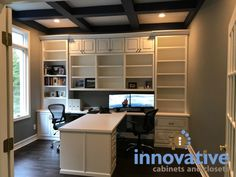 Nov 2018 - Central Indiana Custom Home Office Cabinets. Serving Carmel, Fishers, Westfield, Noblesville, and the Indianapolis Metro. Home Office Layouts, Home Office Space, Home Office Design, Home Office Decor, House Design, Home Decor, Office Designs, Small Office, Office Ideas
