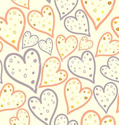 Seamless pattern of dotted hearts vector - by Nessikk on VectorStock®
