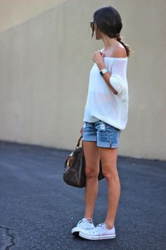 Off the shoulder styles are trending this season. Pair one with your go-to jean shorts & chucks for a cool, casual look.