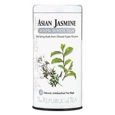 The Republic of Tea's Asian Jasmine White Tea is taking the tea industry by storm. Due to a limited amount of processing compared to all other tea varieties, the Asian Jasmin White Tea retains more antioxidants to make it a very healthy option. Asian Jasmine, Jasmine Tea, Tea Varieties, Ginger Peach, Chinese Tea, Loose Leaf Tea, To Loose, The Republic, Orange Blossom