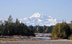 Talkeetna, Alaska - Here is Denali Mountain (Mt McKinley) viewed from the river bank.