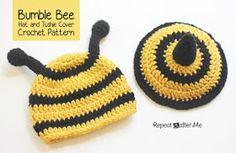 Repeat Crafter Me: Crochet Bumble Bee Hat and Tushie Cover Pattern-- best tutorial ever!