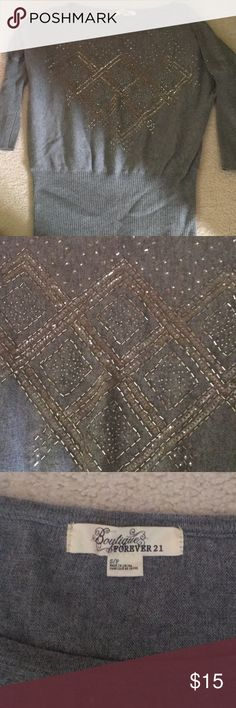 Forever 21 Sparkle Gray Sequin Knit Sweater Grey sequin sweater. Ribbed knitting around the arms. Beautiful and in perfect condition! Forever 21 Sweaters Crew & Scoop Necks