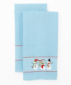 Take a look at this Winter Fun Snowmen Embroidered Dish Towel - Set of Two by Design Imports on #zulily today!