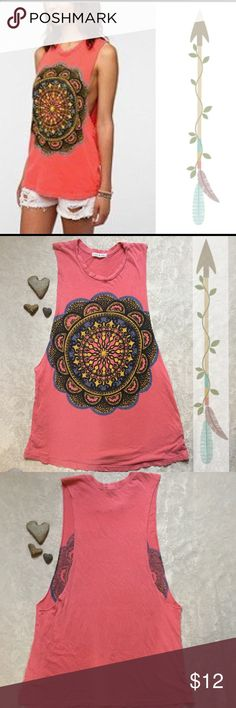Urban Outfitters Eye Mandala Tee Super soft cutoff muscle tank from Title Unknown.   Boxy, relaxed fit.  Distressed crewneck and hem.  Extra deep cut out armholes.  Vibrant mandala to keep you centered!  100 % cotton.  In size medium by Title Unknown for Urban Outfitters. Title Unknown Tops Muscle Tees