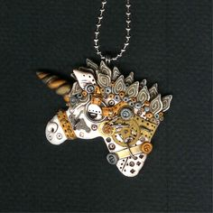 steampunk necklace | Steampunk Unicorn Necklace Polymer Clay Jewelry by Freeheart1