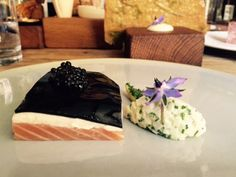 Salmon with apple jelly and caviar @ The-hand-and-flowers, Marlow, Great Britain Apple Jelly, Marlow, Foodie Travel, Caviar, Britain, Panna Cotta, Salmon, Restaurants, Ethnic Recipes