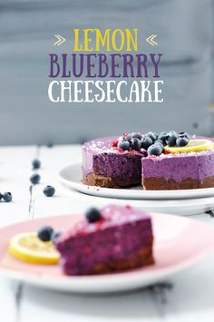 Vegan No Bake Iced Blueberry Lemon Cheesecake with a Chocolate Cookie Crust