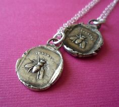 Bee wax seal necklace.