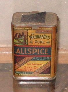 Vintage Old Spice Tin 3 Crows Allspice Rockland Me   eBay
