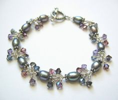 Moonbeam Silver Cluster Bracelet with Freshwater by OpheliasJewels, $56.00