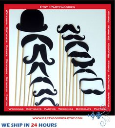 Photo Booth Props 15 Piece Set  Mustache On a by PartyGoodies, $17.00