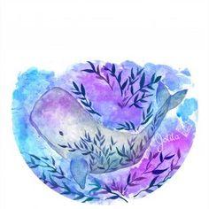 ballena azul con hojas  abre tus alas indumentaria BY MARÍA JORGELINA GARRO   INLUSTRACIÓN ACUARELAS