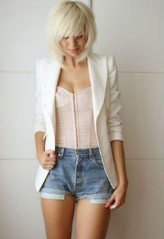 white blazer, corset, and jean shorts. Love dis
