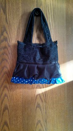 Blue and White Polka Dot Chevron with Black Lace Purse for sale at https://www.etsy.com/shop/Pursettes?ref=si_shop