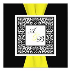 Shop Black and White Damask PRINTED Ribbon Invitation created by NiteOwlStudio. Lavender Wedding Invitations, Black And White Wedding Invitations, Monogram Wedding Invitations, Wedding Invitation Design, Custom Invitations, Wedding Stationery, Pink Damask, White Damask, Pink Black Weddings