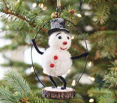 Snowman Felted Wool Ornament #pbkids
